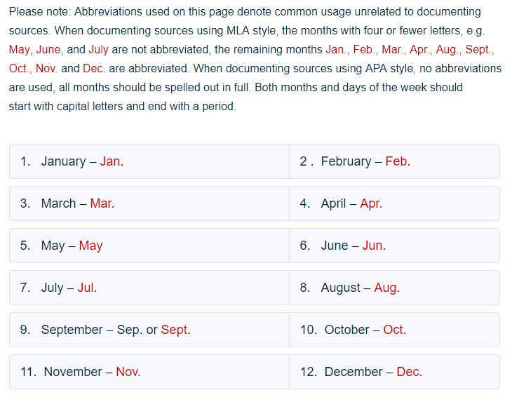 Abbreviations Of Months The Year Days Week And Other Time