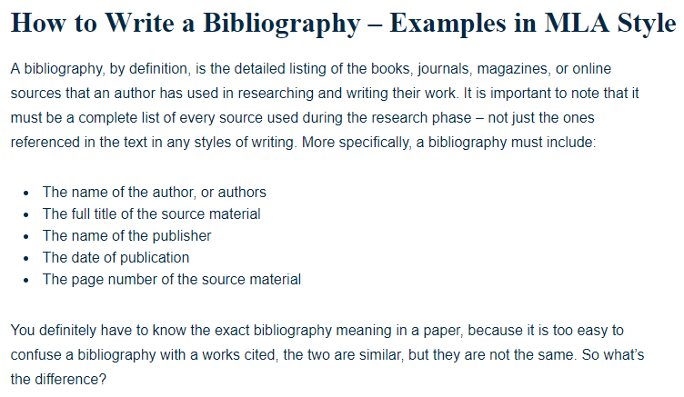 how to write a bibliography examples in mla style a research