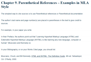 parenthetical references examples in mla style a research guide