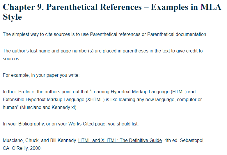 parenthetical references - examples in mla style