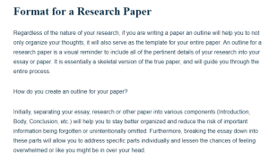 Format for a Research Paper