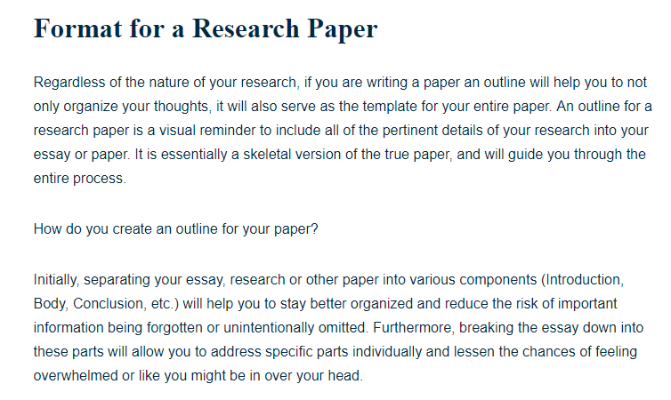 Information For Research Paper