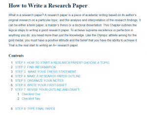 writing a research paper outline