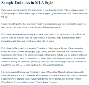 Sample Endnotes In Mla Style  A Research Guide For Students Title Of Essay Centered   Cm Margin On All Four Sides Page Number  At Upper Right Hand Corner   Cm Down From The Top
