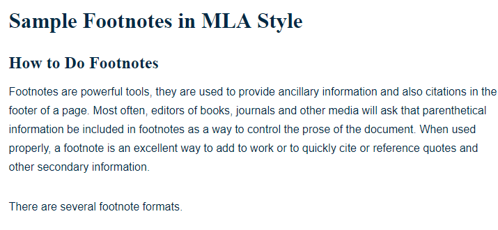 Sample footnotes in mla style a research guide for students ccuart Images