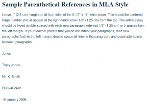 Sample Parenthetical References in MLA Style