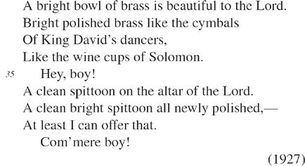 """Brass Spittoons"" by Langston Hughes line 35"
