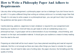 From Thesis To Essay Writing  English Essay Structure also Proposal Essay Examples How To Write A Good Philosophy Paper  A Research Guide Old English Essay